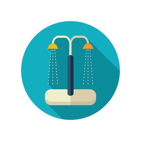 cleanness: Summer beach pool shower vector flat icon. Beach. Summer. Summertime. Vacation