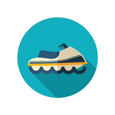 moto acuatica: Moto de agua de vectores icono plana. Playa. Verano. Verano. Vacaciones