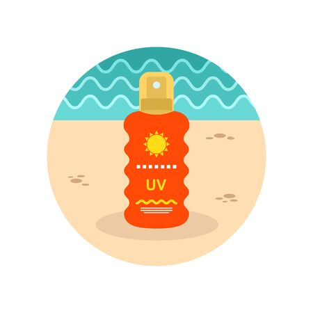 sun cream: Sun Cream in Spray vector icon. Beach. Summer. Summertime. Vacation, eps 10