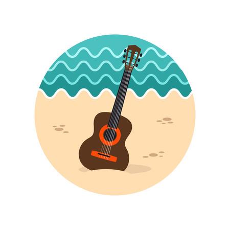 strumming: Guitar Beach vector icon. Beach. Summer. Summertime. Vacation, eps 10 Illustration
