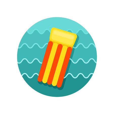 mattress: Floating mattress on beach vector icon. Beach. Summer. Summertime. Vacation, eps 10