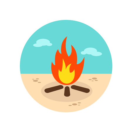 inferno: Bonfire vector icon. Beach. Summer. Summertime. Vacation, eps 10 Illustration