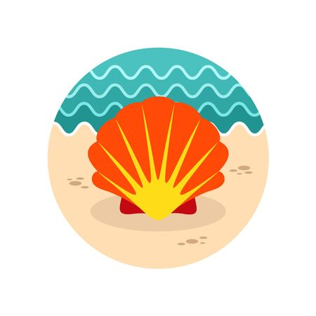 scallops: Seashell vector icon. Beach. Summer. Summertime. Vacation, eps 10