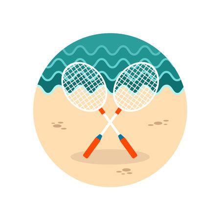 badminton racket: Badminton Racket vector icon. Beach. Summer. Summertime. Vacation, eps 10
