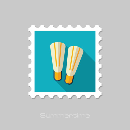 flippers: Flippers vector flat stamp with long shadow. Beach. Summer. Summertime. Vacation, eps 10