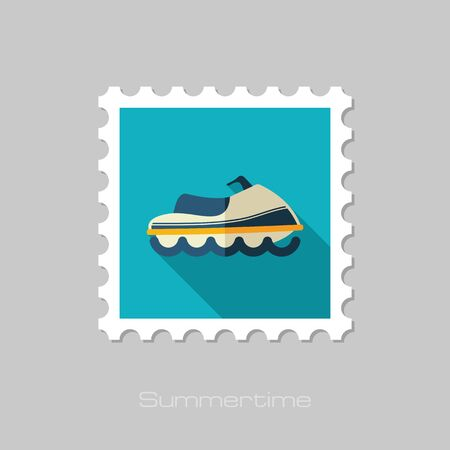 moto acuatica: sello plana moto de agua del vector con una larga sombra. Playa. Verano. Verano. Vacaciones, eps 10
