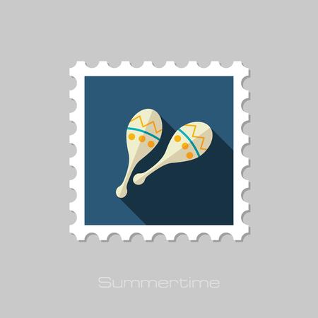 beanbag: Maracas vector flat stamp with long shadow. Beach. Summer. Summertime. Vacation, eps 10