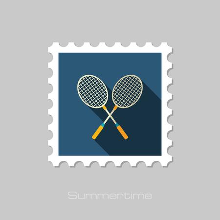 badminton racket: Badminton Racket vector flat stamp with long shadow. Beach. Summer. Summertime. Vacation, eps 10