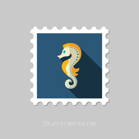 horsefish: Sea Horse vector flat stamp with long shadow. Beach. Summer. Summertime. Vacation, eps 10 Illustration
