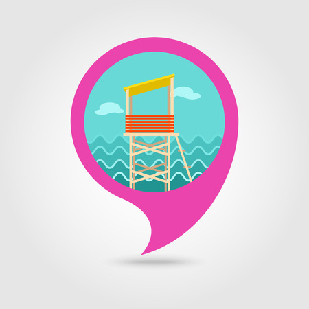 observations: Lifeguard tower vector pin map icon. Beach Map pointer. Summer Map markers. Holiday. Summertime. Vacation, eps 10 Illustration