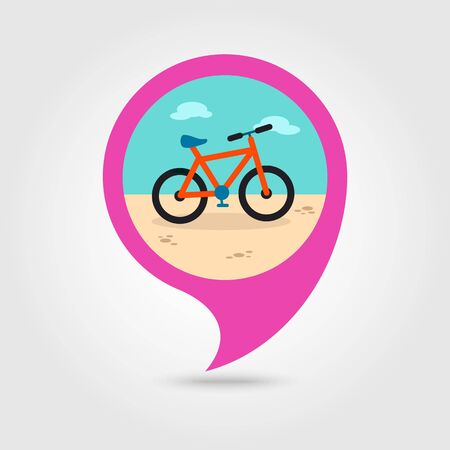 pedaling: Bicycle vector pin map icon. Beach Map pointer. Summer Map markers. Holiday. Summertime. Vacation, eps 10 Illustration