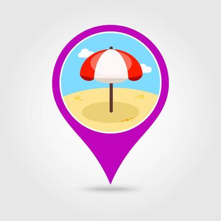 sunshade: Beach Parasol vector pin map icon. Illustration