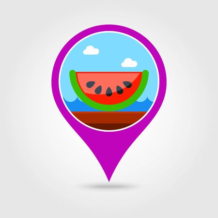 watermelon slice: Watermelon Slice vector pin map icon.