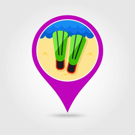 flippers: Flippers vector pin map icon.
