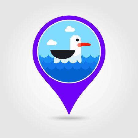 soar: Seagull vector pin map icon.
