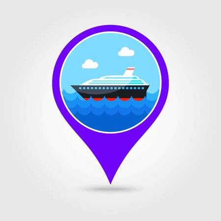 liner: Cruise transatlantic liner vector pin map icon. Illustration