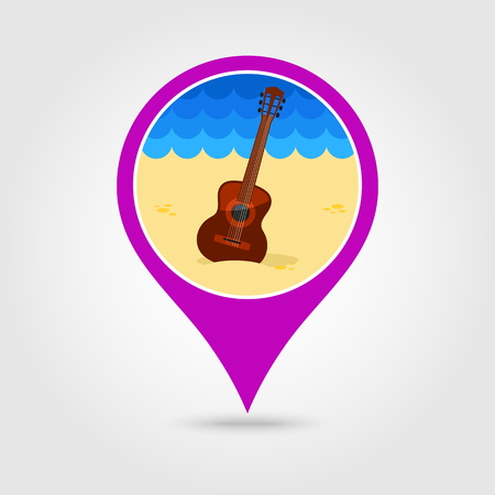 strumming: Guitar Beach vector pin map icon.