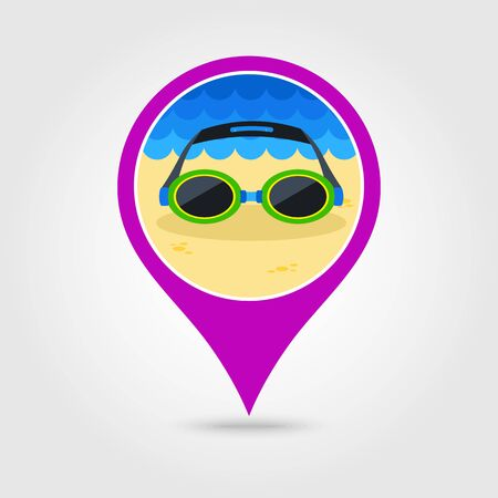 swimming goggles: Swimming Goggles vector pin map icon. Illustration