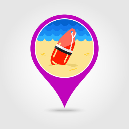 flotation: Support, help and assistance with torpedo rescue lifeguard buoy vector pin map icon.