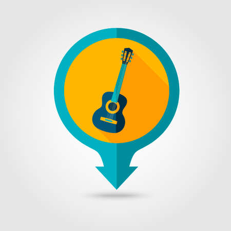 strumming: Guitar Beach vector pin map flat icon with long shadow. Beach Map pointer. Summer Map markers. Holiday. Summertime. Vacation Illustration