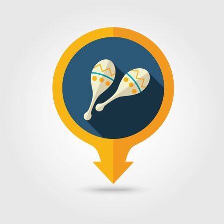beanbag: Maracas vector pin map flat icon with long shadow. Beach Map pointer. Summer Map markers. Holiday. Summertime. Vacation Illustration