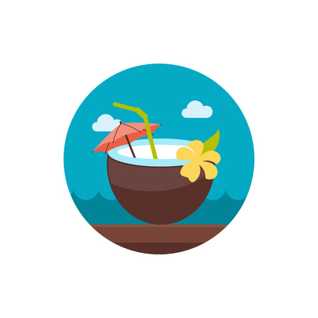 coconut drink: Coconut Drink with Straw vector icon. Beach. Summer. Summertime. Holiday. Illustration