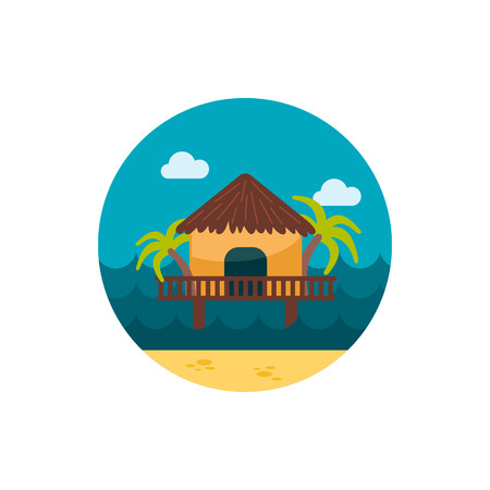 shack: Bungalow with palm trees vector icon. Beach. Summer. Summertime. Holiday.