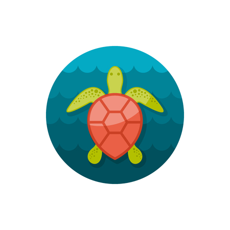 amphibia: Sea turtle vector icon. Beach. Summer. Summertime. Holiday. Illustration
