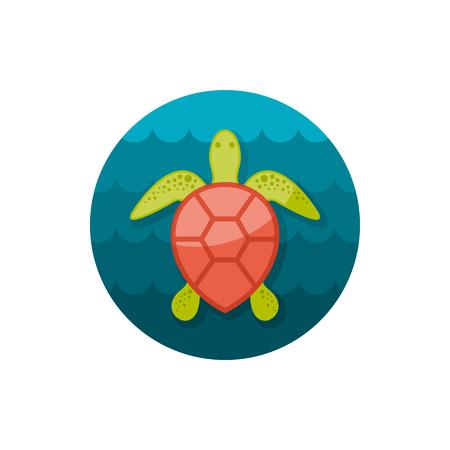 Sea turtle vector icon. Beach. Summer. Summertime. Holiday. Illustration
