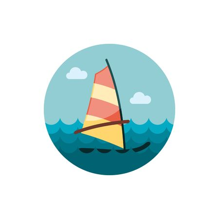 sailboard: Board Windsurfing vector icon. Beach. Summer. Summertime. Holiday.