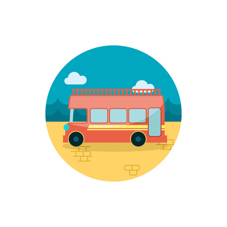 decker: Double decker open top sightseeing and city bus vector icon. Summer. Summertime. Holiday.