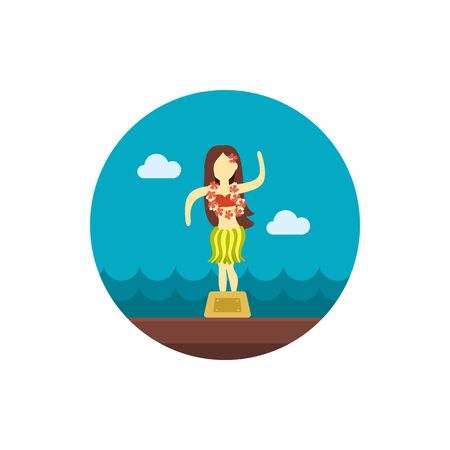 hula: Hula Dancer Statuette vector icon. Summer. Summertime. Holiday.