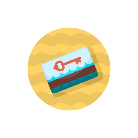 keycard: Electronic keycard vector icon. Key card. Travel. Summer. Summertime. Holiday.