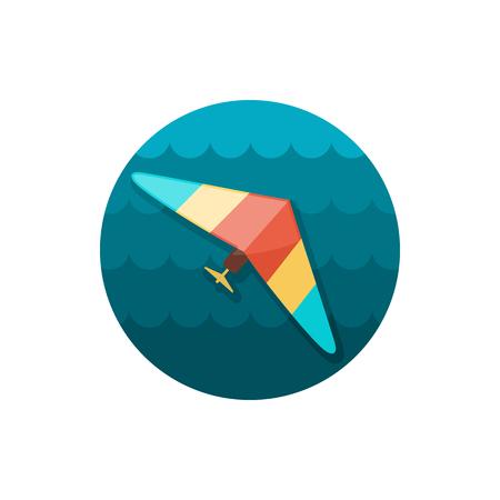 glider: Hang Glider vector icon. Travel. Summer. Summertime. Holiday.
