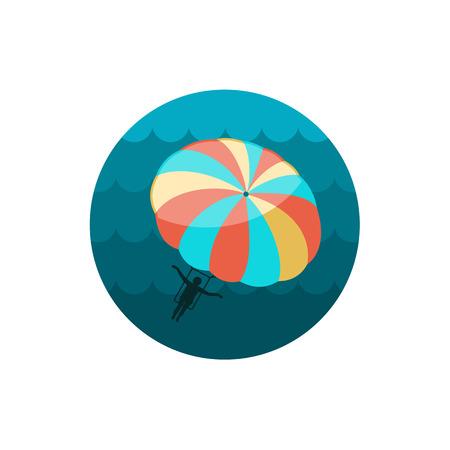 kiting: Parasailing. Summer kiting activity vector icon. Beach. Summer. Summertime. Holiday. Vacation