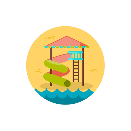 park: Water Park Summer Vacation Illustration