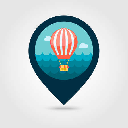 Hot Air Balloon vector pin map icon. Travel Map pointer. Summer Map markers. Summertime. 向量圖像