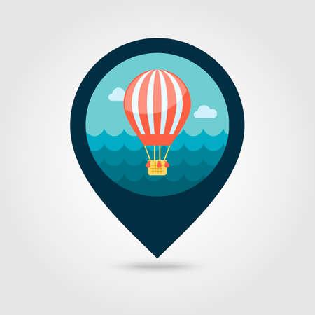 Hot Air Balloon vector pin map icon. Travel Map pointer. Summer Map markers. Summertime. Иллюстрация