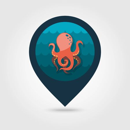 tentacle: Octopus vector pin map icon. Map pointer. Summer Map markers. Summertime.