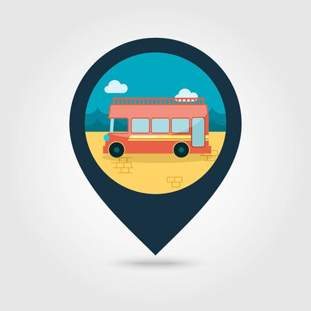 decker: Double decker open top sightseeing and city bus vector pin map icon. Map pointer. Summer Map markers. Summertime. Vacation