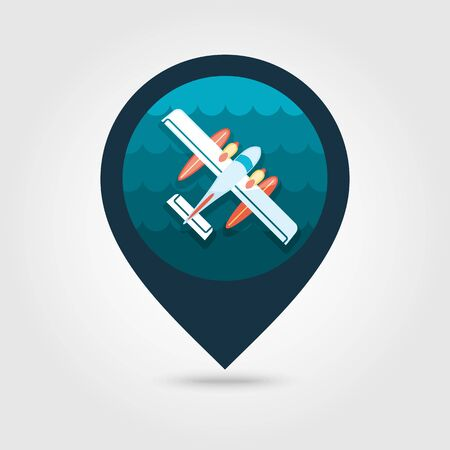 hydroplane: Hydroplane vector pin map icon. Travel Map pointer. Summer Map markers. Summertime. Illustration