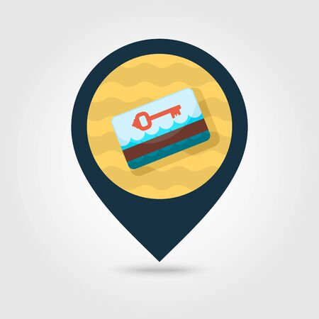 keycard: Electronic keycard vector pin map icon. Key card. Travel Map pointer. Summer Map markers. Summertime.