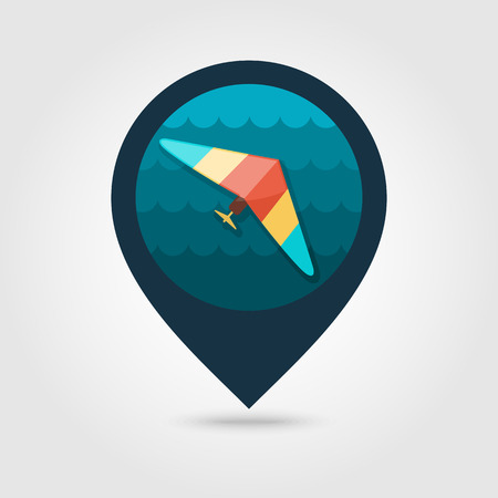 deltaplane: Hang Glider vector pin map icon. Travel Map pointer. Summer Map markers. Summertime.