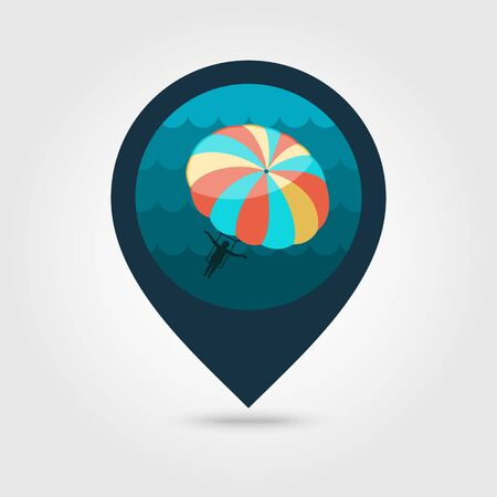 paragliding: Parasailing. Summer kiting activity vector pin map icon. Beach Map pointer. Summer Map markers. Summertime. Vacation