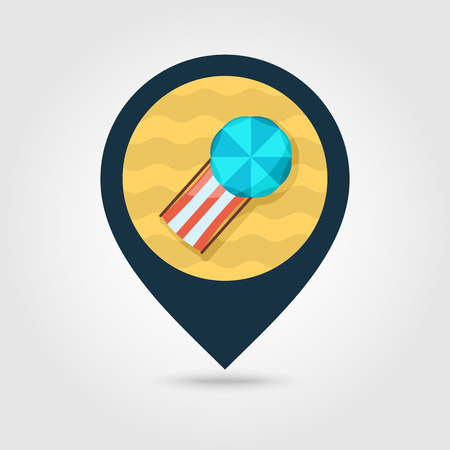 chaise lounge: Beach chaise lounge with umbrella vector pin map icon. Map pointer. Summer Map markers. Summertime. Vacation
