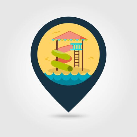 water park: Water Park Summer Vacation. Slide Beach vector pin map icon. Map pointer. Summer Map markers. Summertime. Vacation