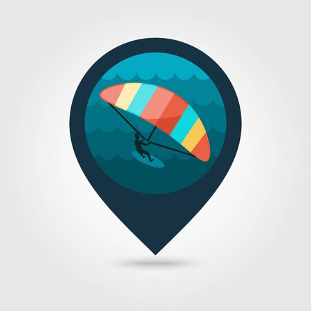 kite surf: Kite boarding. Kite surfing vector pin map icon. Beach Map pointer. Summer Map markers. Summertime. Vacation, Illustration