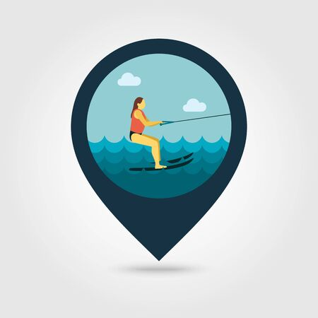 water skier: Water skiing vector pin map icon. Beach Map pointer. Summer Map markers. Summertime.