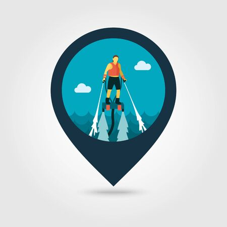 FlyBoard FlySurf vector pin map icon. Beach Map pointer. Summer Map markers. Summertime.