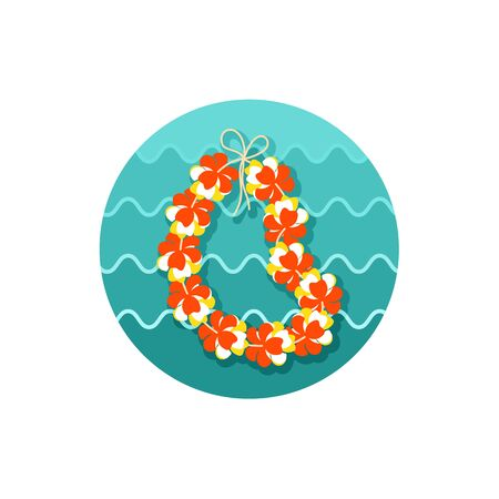 Hawaii flowers necklace, wreath icon.